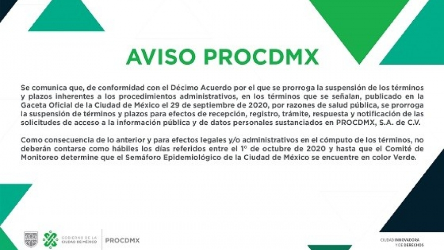 AVISO PROCDMX-OCTUBRE 2020